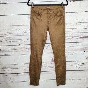 MOTHER The Looker Crackled Tan Skinny Pants